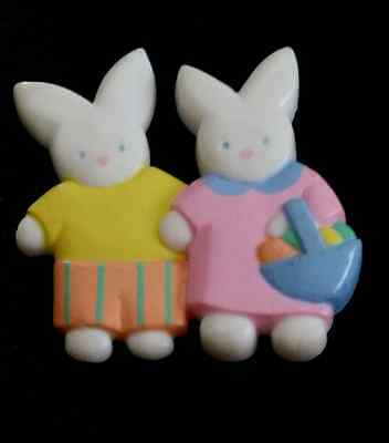 1990 BOY & GIRL EASTER BUNNY w EGG BASKET HALLMARK VINTAGE HOLIDAY BROOCH SIGNED