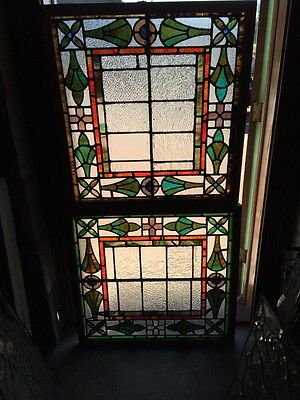"Sg 778 Two Available Price Separate Antique Stainglass Window 31"" X 33"""