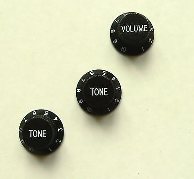 Black tone x2 and volume knob x1 set for Fender Stratocaster Strat guitar knobs
