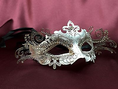 White Masquerade Ball Mask Costume Prom Dance Engagement Weddig Bridal Party