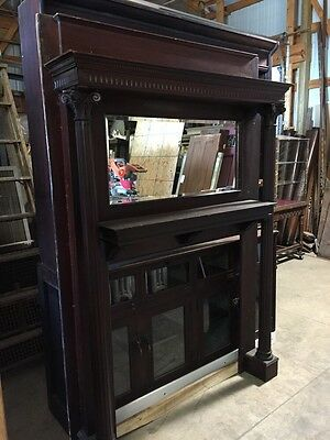 A 2 Antique Fireplace Mantel Oak Carved
