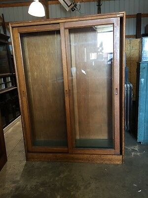 Two Available Price Separate Antique Oak Showcase Wall Display Case