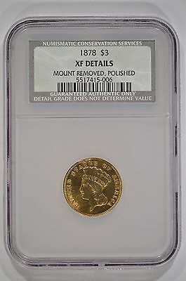 United States 1878 $3 Gold Indian Princess NCS XF Details Mount Removed/Polished