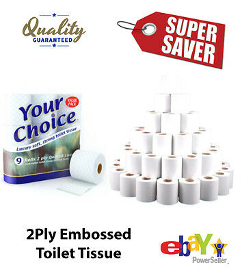 90 ROLLS (9 x 10) BULK BUY TOILET TISSUE ROLLS 2PLY QUILTED SOFT BATHROOM PAPER
