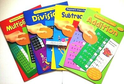 Set Of 4 Wipe Clean Maths Children's Books Addition Divide Subtract Multiply
