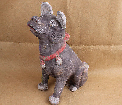 China Handwork carved vividly Pottery Dogs Art Statue W6519