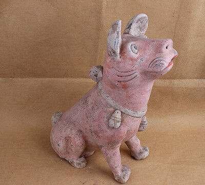 China Handwork carved vividly Pottery Dogs Art Statue W6520
