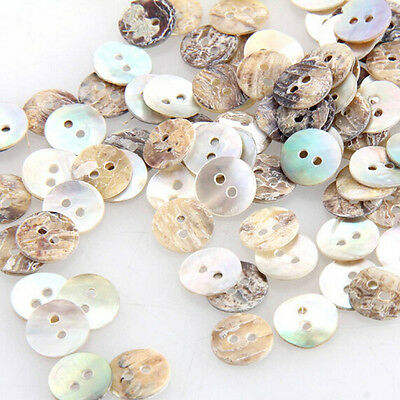 100 pcs Mother of Pearl MOP Round Shell Sewing Buttons 8mm HOT Craft 2 Holes