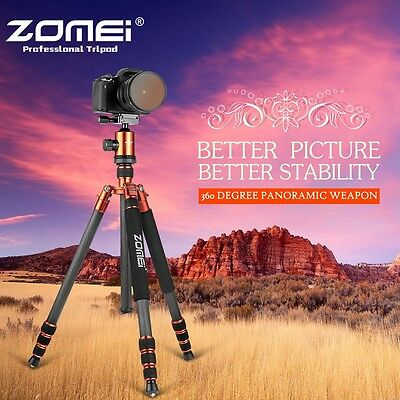 Zomei Orange Carbon Fiber Tripod Z818C Travel Monopod&Ball Head for DSLR Camera
