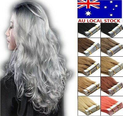 """16""""18""""20""""22"""" Pu Seamless Tape In Skin Weft Remy Human Hair Extensions 20pcs AU"""