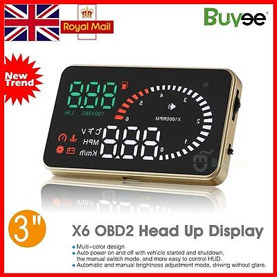 Universal Car Head Up Display HUD Speed Warning Speedometer Fuel Consumption