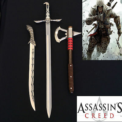 Assassin's Creed Altair Majestic Sword&Connor's Axe &Full Tang Fighitng KnifeSet