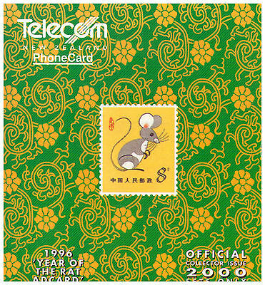 1996 Telecom New Zealand Phone Card Pack - Year of the Rat Adcard