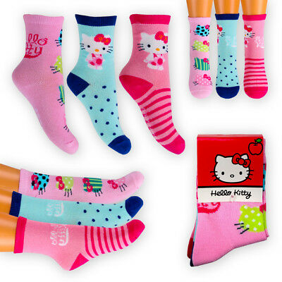 HELLO KITTY Character Kids Girls TRIPLE PACK Cotton-Rich Ankle SOCKS Age 2-9