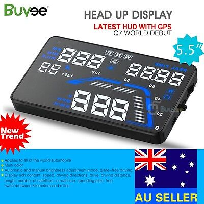 Q7 HUD 5.5'' Car Head Up Display GPS Windscreen Projector Speed Fuel Warning New