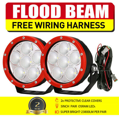 """Pair 9"""" 675W New White ROUND LED Lights Driving Spot light Offroad 4x4 VS 555W"""
