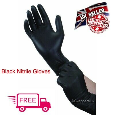 Black Strong Nitrile Gloves Powder Latex Free Mechanic Tattoo Valeting Barber