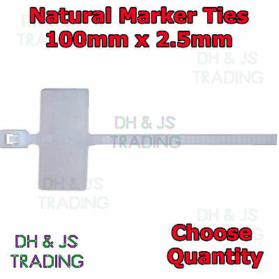 Natural Marker Ties Cable Tie Marker I.D Tie Tag Write On Label 100mm x 2.5mm