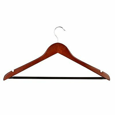 Honey-Can-Do Wood Hangers with Non-slip Grooved Bar, 24-Pack, Cherry (HNG-01335)