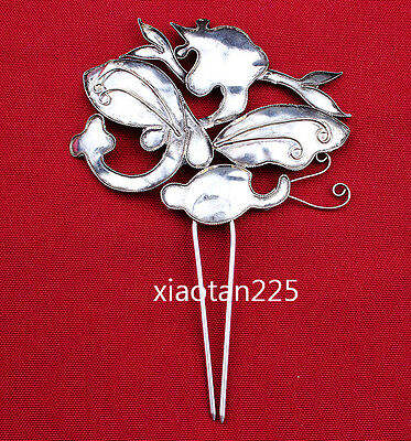 China's Ancient costume Handmade Miao Silver filigree Hairpin Headdress W522