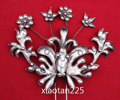 China's Ancient costume Handmade Miao Silver filigree Hairpin Headdress W525