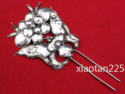 China's Ancient costume Handmade Miao Silver filigree Hairpin Headdress W526