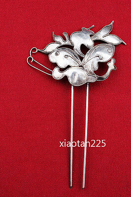 China's Ancient costume Handmade Miao Silver filigree Hairpin Headdress W568