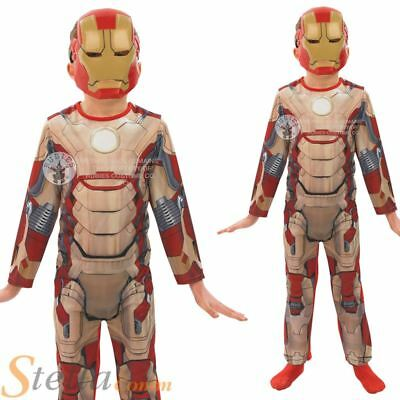 Boys Classic Iron Man 3 Marvel Avengers Superhero Fancy Dress Costume + Mask