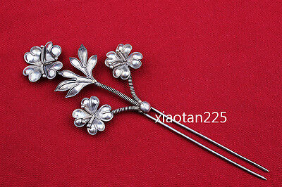 China's Ancient costume Handmade Miao Silver filigree Hairpin Headdress W595