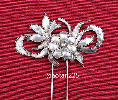 China's Ancient costume Handmade Miao Silver filigree Hairpin Headdress W599