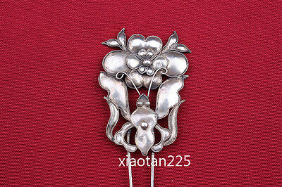 China's Ancient costume Handmade Miao Silver filigree Hairpin Headdress W601