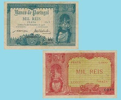 Portugal 1000 Reis 1910. UNC - Reproductions