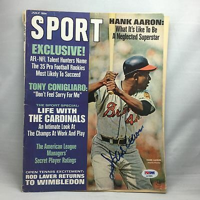 Hank Aaron Signed Autographed 1960's Signed Magazine Photo PSA DNA COA