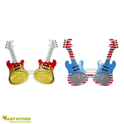Occhiali Chitarra Elvis Party Glasses Guitar Carnevale Travestimenti Disco Rock