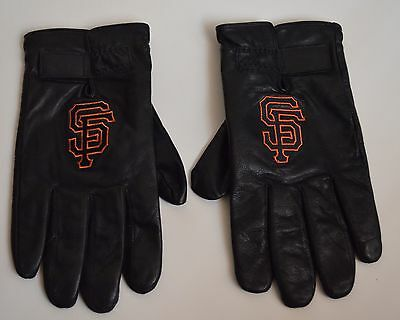 San Francisco Giants Leather Gloves Thinsulate Insulation Large L Black