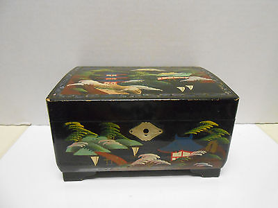 Vintage Japan Laquer Ware Wood Music Box Jewelry Box Hand Painted w/ junk jewelr