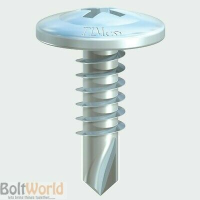 100, WAFER HEAD SELF DRILLING TEK SCREW ZINC 4.2, 13.5mm 16mm 19mm & 25mm (FWS)