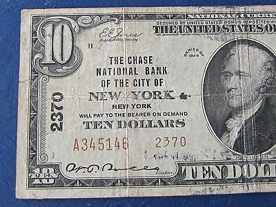 1929 TYPE II  10  DOLLAR NATIONAL BANKNOTE BILL CHASE NATIONAL  city of NEW YORK