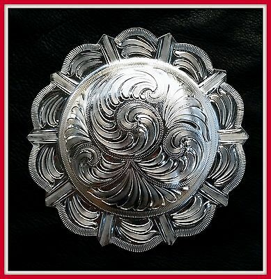 """4"""" Silver Hand Engraved Western Pico Concho"""