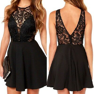 Black Women Casual Short Sleeve Evening Party Cocktail Lace Short Mini Dress