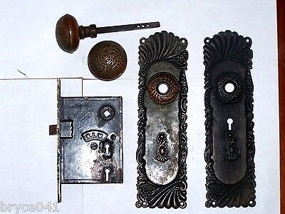 Antique BLW Entry Mortise Lock With Vernacular Knobs and Roanoke Backplates