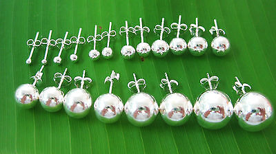 """100% REAL 925 sterling silver """"2mm to 16mm"""" BALL studs EARRINGS -UNISEX"""