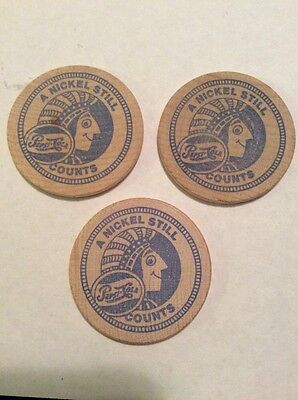 Lot of 3 Vintage Pepsi-Cola Wooden Nickels