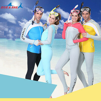 Men Women Snorkeling Diving Skin Suit Surf Scuba Swimwear Wetsuit Rashguard Tops