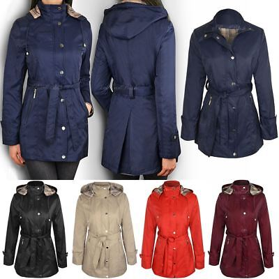 1c52f237d063b New Summer Mac Jacket Womens Ladies Coat Smart Belted Fitted Trench Parka  Size