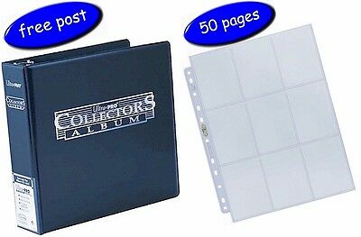 Blue Ultra Pro Collectors Album/Binder & 50 Platinum 9 Pocket Pages inc UK Post
