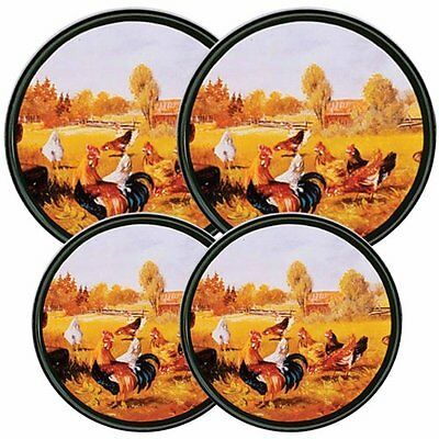 Reston Lloyd Electric Stove Burner Covers, Set of 4, Rooster (4-008-G) NEW