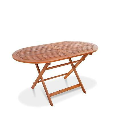 Wooden Garden Table Patio - Outdoor 1.4m Oval Folding Wood Resistant