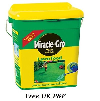 Miracle Gro Water Soluble Lawn Food 400 sq m Tub Garden Grow Soil Grass 2 kg UK