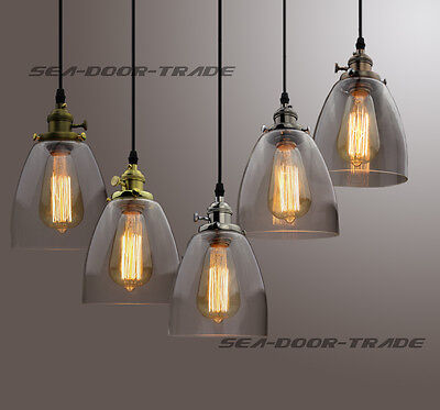 Industrial RETRO Vintage Clear Glass Handing Pendant Light Ceiling Chandelier
